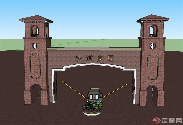 某住宅小区入口红砖大门设计su模型(1)