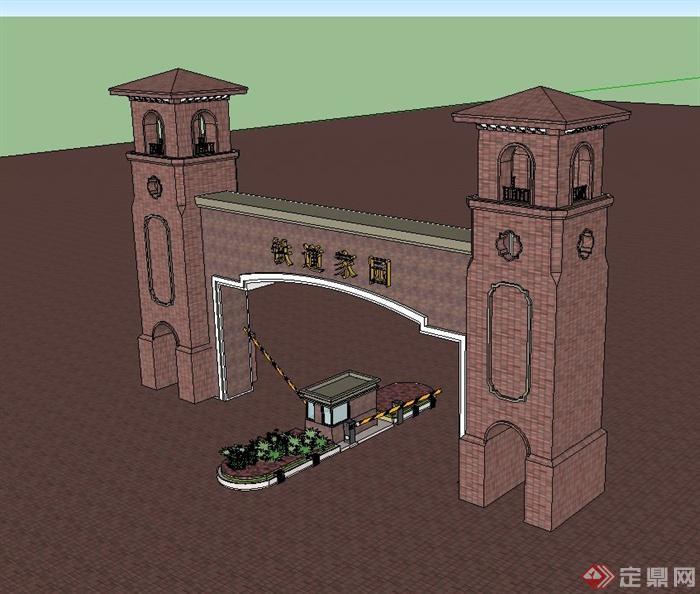 某住宅小区入口红砖大门设计su模型(2)