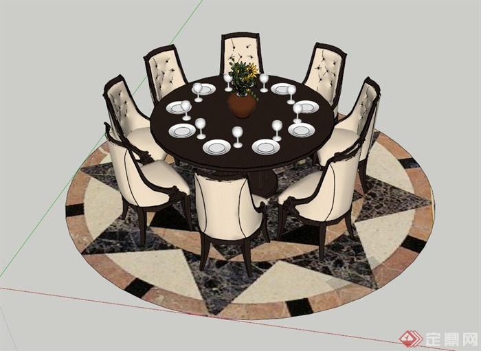 欧式圆形餐桌椅设计SU模型,带有地面铺装组合设计,模型制作精细,具有一定的参考价值,有需要的朋友可自行下载。