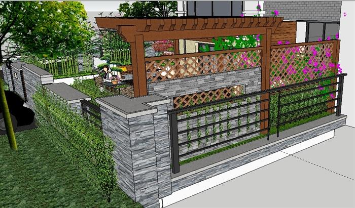 某别墅后庭小院景观设计su模型