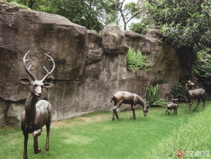 雕塑,构筑物小品设计实景图-雕塑动物雕塑鹿形雕塑-师