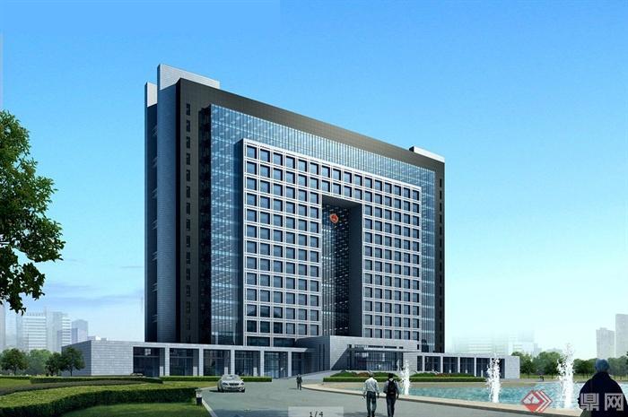 4张现代风格检察院法院办公楼建筑设计效果图