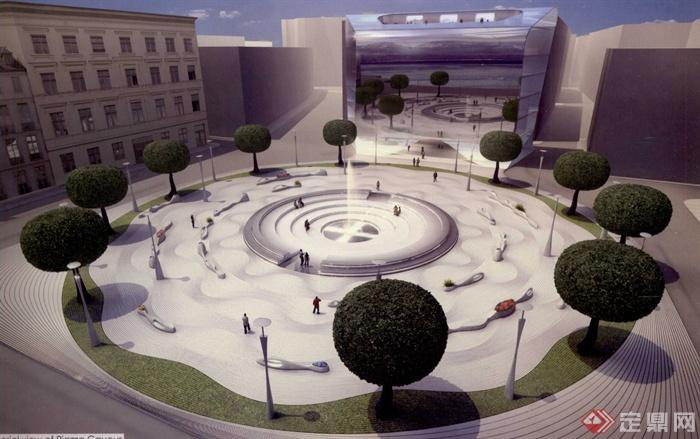 喷泉铺装广场_现代风格广场实景图喷泉广场喷泉景观乔木路