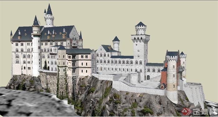 欧式模型灰姑娘图纸建筑设计su城堡[European算米重风格图片