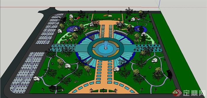 某喷泉小广场景观设计su模型[原创]