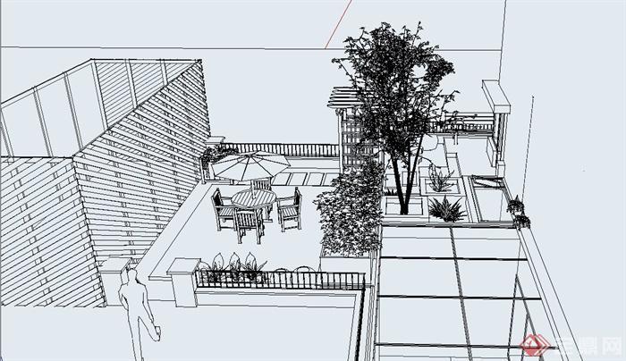 某私家住宅庭院景观规划设计su模型(3)