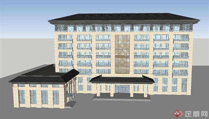 现代中式七层酒店建筑设计su模型(1)图片