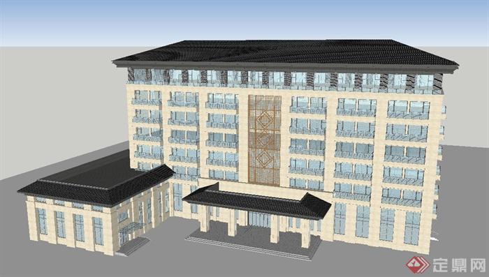 现代中式七层酒店建筑设计su模型(4)图片