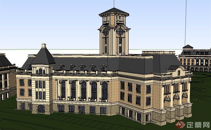 某欧式风格三栋多层会所建筑设计su模型[原创]