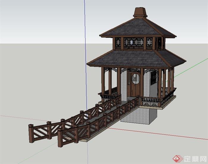 古典中式木质四角重檐亭设计su模型