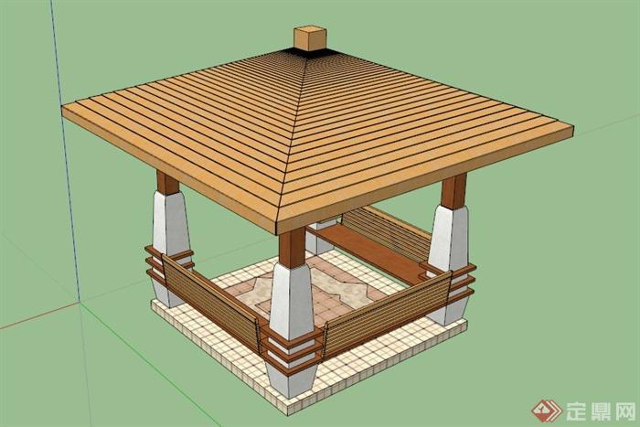 现代中式木亭设计su模型