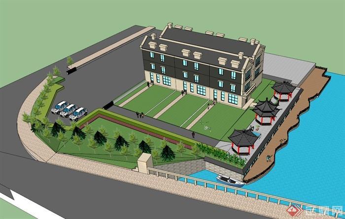 滨水别墅建筑景观设计su模型