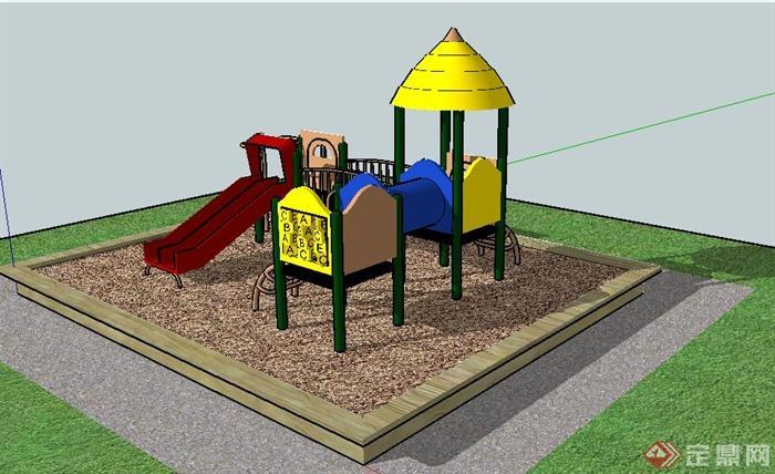 兒童娛樂沙坑及游樂設施su模型
