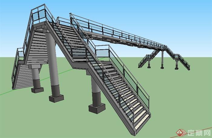 現代鋼結構人行天橋設計su模型