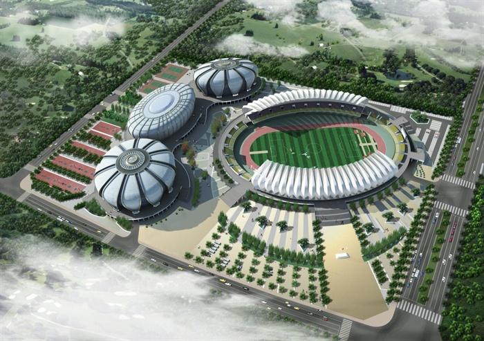 现代椭圆形体育馆建筑设计su模型(1)