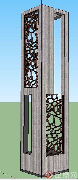 现代中式标志景观柱设计su模型