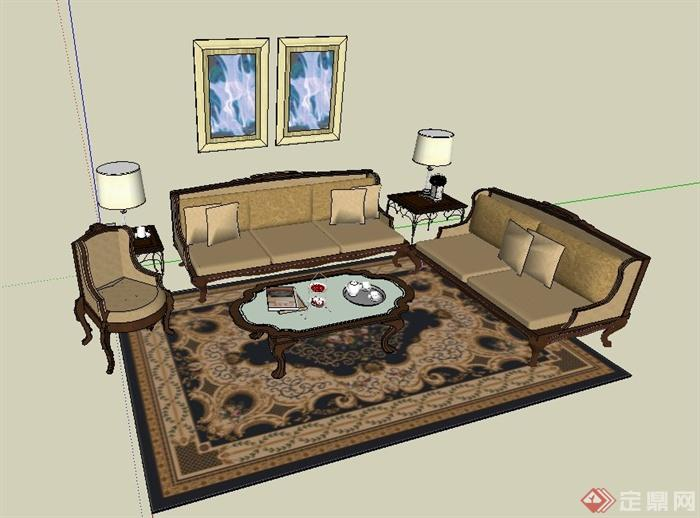某欧式风格客厅沙发茶几组合设计su模型