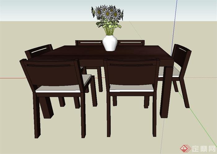 室内六人餐桌椅设计su模型