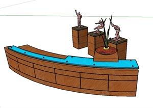 现代某办公前台与小品设计SU(草图大师)模型