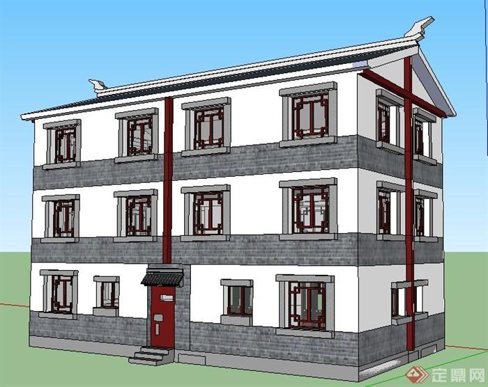 现代新中式风格三层办公楼建筑su模型