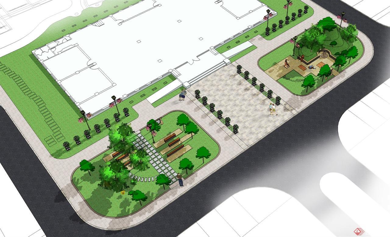 办公楼入口广场景观-华美环境艺术设计
