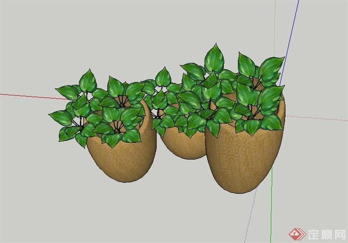 园林景观节点三个花钵设计SU模型,模型制作有三个花钵、绿色植物等,模型制作有材质贴图,具有一定的参考价值。