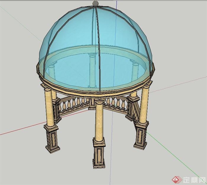 园林景观节点欧式圆形玻璃亭设计su模型