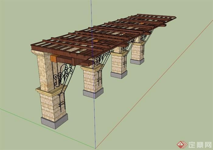 欧式单臂廊架设计su模型