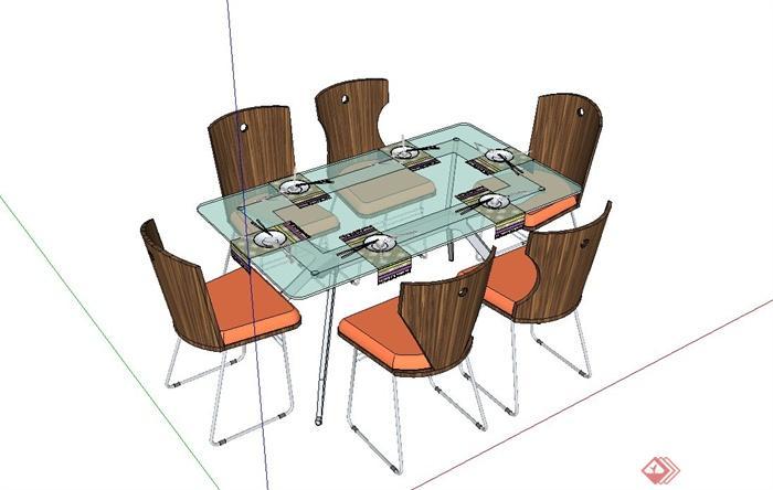 现代简约风格六人餐桌椅设计su模型