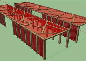 现代简约红色组合廊架设计SU(草图大师)模型