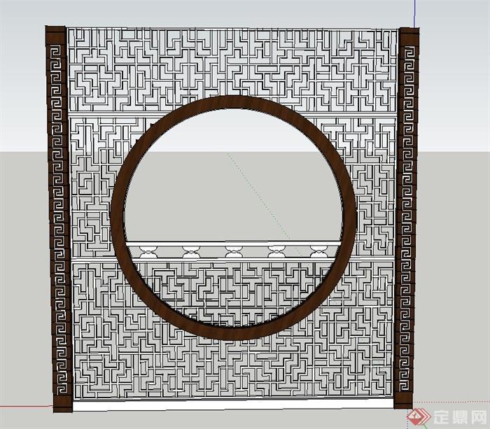 古典中式木质景墙设计su模型