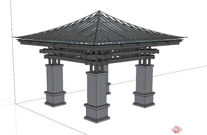 某个新中式亭子设计su模型(1)