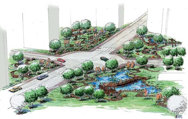 住宅区景观设计-道路景观栈桥凉亭乔木十字路口-设计
