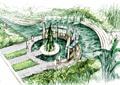 河流景观,玻璃廊架,园路,地面铺装,植被