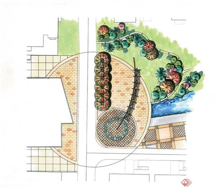 景观节点手绘图-廊架植物平面地面铺装-设计师图库