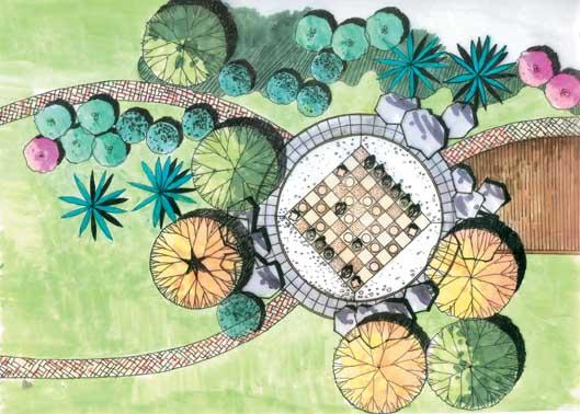 景观节点手绘图-植物平面地面铺装景石-设计师图库