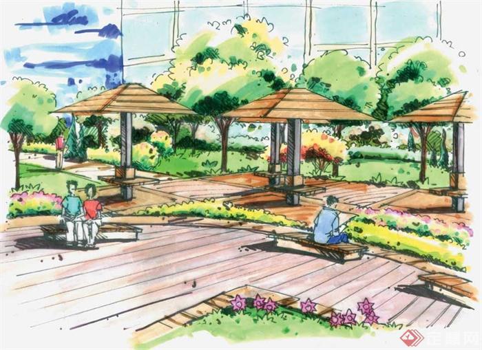 景观节点手绘图-凉亭坐凳地面铺装-设计师图库