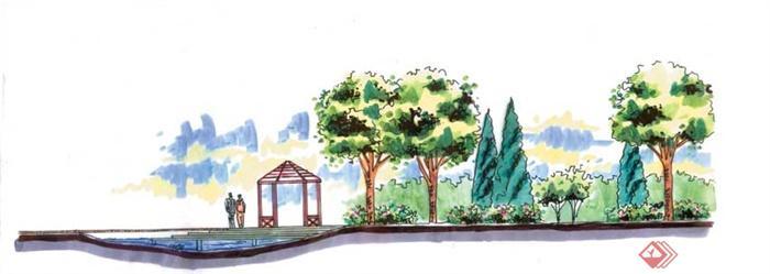 景观节点手绘图-凉亭水池乔木-设计师图库