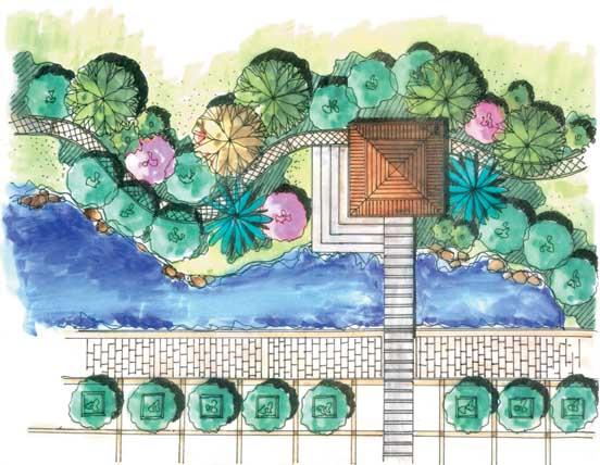 景观节点手绘图-凉亭汀步植物平面水池-设计师图库