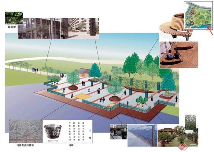 城市景观设计图-滨水景观平台树池坐凳园路-设计师
