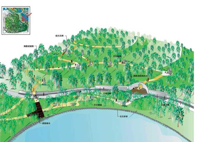 公园景观,园路,水景,常绿乔木,栈道
