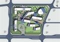 办公环境规划,建筑,道路,小品,植被