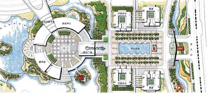 学校校园环境设计-校园广场广场景观地面铺装校园景观