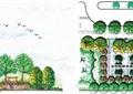 小游园植物配置图,景墙,坐凳,植被,地面铺装