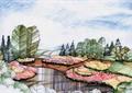 河流景观,花卉植物,乔木植物