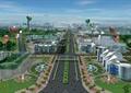 道路景观,行道树,综合建筑,气球