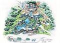 度假山庄景观,商业建筑,流水景观,道路,植被