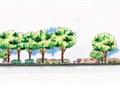 矮墙,坐凳,常绿乔木,灌木丛