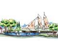 水池景观,帆船,凉亭,廊架