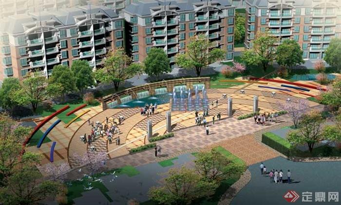 小区住宅景观设计-广场拼花铺装景墙旱喷景观